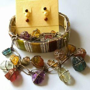 Jewelry - Vintage candy-jewel bracelets + earrings